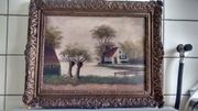 Gemälde alte Holländische Polderlandschaft und