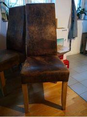 4 Esszimmer-Stühle Beine Massivholz Bezug