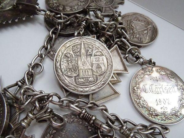 Patriotische Schützenkette 1903 Massiv 800er Silber 16 Medallien