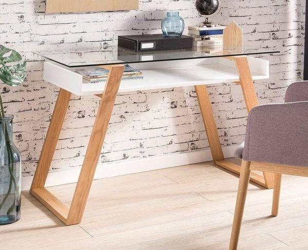 Neu Schnappchen Designer Schreibtisch Sekretar Weiss Mit Glas Und