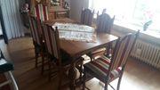 massiver tisch mit 6 stühlen