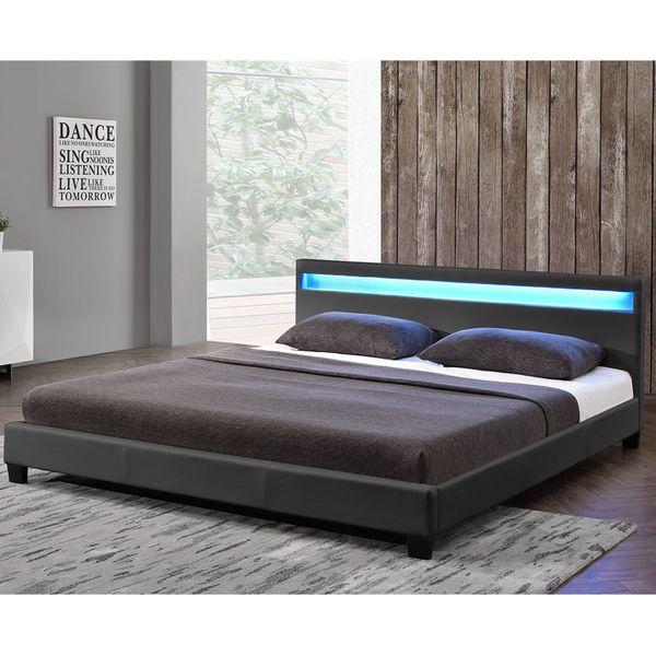 Bett Polsterbett Grau LED Lattenrost