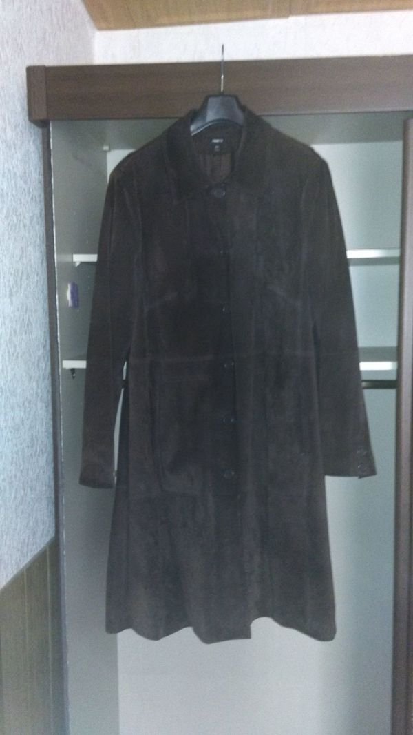Damen-Wildledermantel in XXL (52 54) dunkelbraun, Länge 110 cm in ... d627774d07
