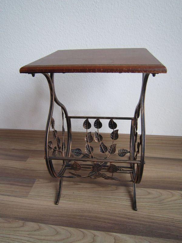Beistelltisch mit Zeitungsablage braun/schwarz/kupfer Holz, Metall ...