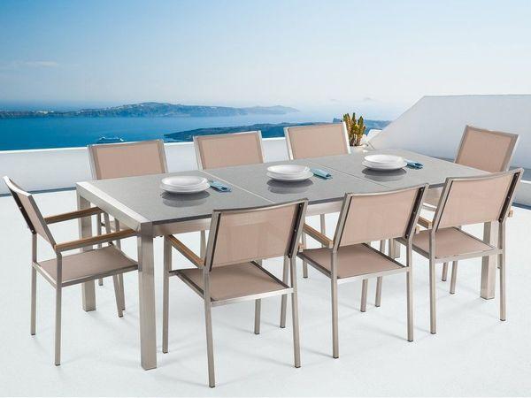 Gartenmobel Set Granit Grau Poliert 220 X 100 Cm 8 Sitzer Stuhle