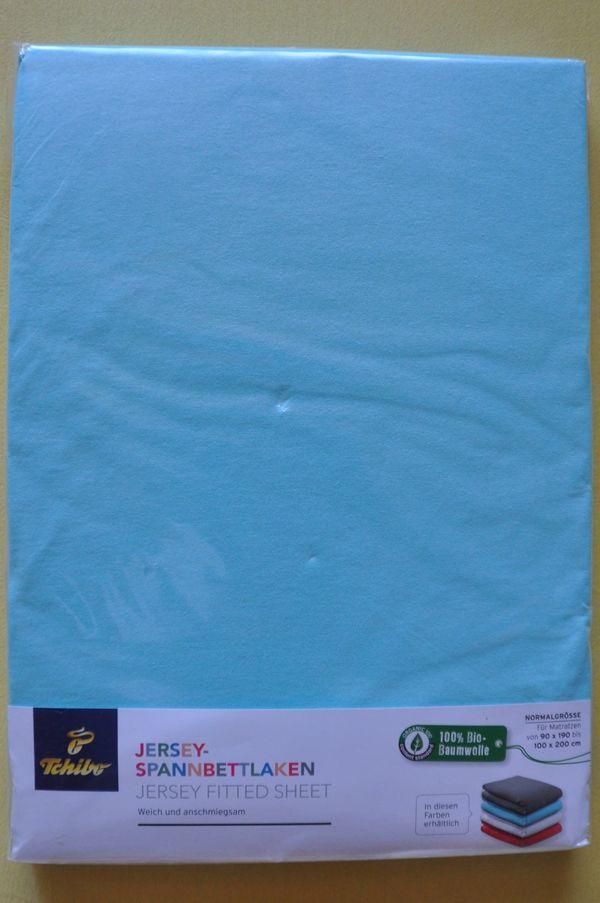 Tchibo Jersey Spannbettlaken blau für