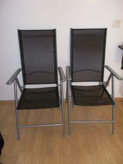 Gartenstühle verstellbar Metallgestell grau Bezug