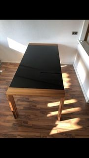 Hülsta Esstisch Holz Glas-schwarz