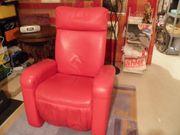 Keyton Massagesessel voll Leder Rot