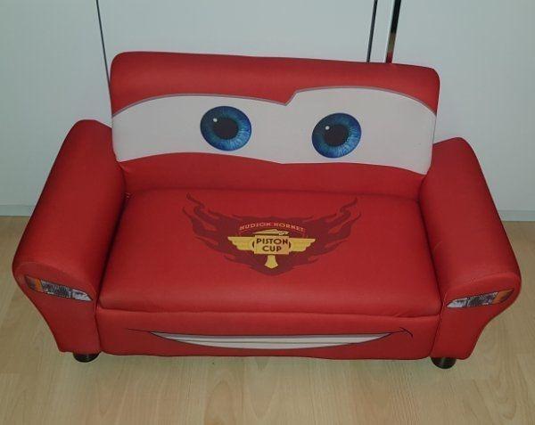Disney Cars 2er Sofa Fur Kinder Gepolstert Rot Aufklappbar In