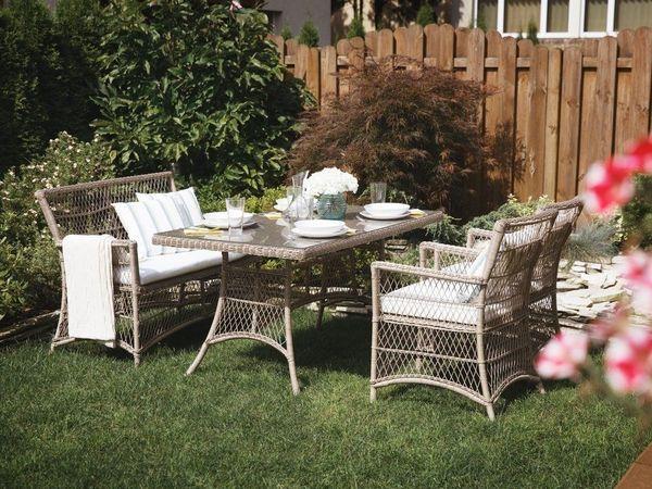 Wunderbar Gartenmöbel Set Rattan Beige 4 Sitzer