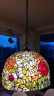 Pendelleuchte Tiffany Glasmosaik Rosen