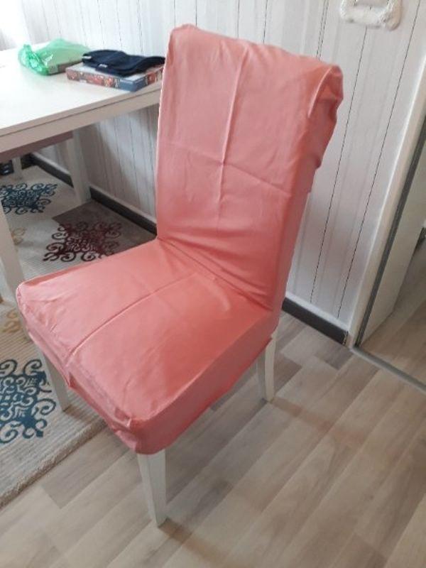 Stuhlbezug Ikea Henriksdal - Wiesloch - Stuhlbezüge lachsfsrben wurden passgenau für den ikea henriksdalstuhl genäht aus dem Originalbezug für diese stühle Fester Baumwollstoff waschbar.Bezug hane ich nicht fest mit bildern verschlossen daher sitzt er auf den bildern etwas locke - Wiesloch
