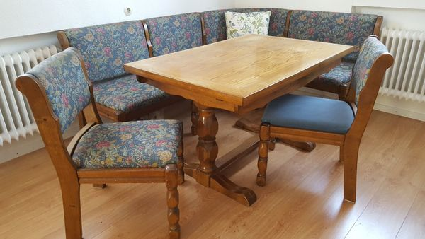 Esszimmer rustikal, massiv Holz Eiche, Tisch + Eckbank + 2 Stühle in ...