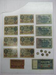 Alte Reichsbanknoten Geldschein und Münzen