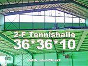 Zweifeld Tennishalle 36x36x9m Stahlhalle aus