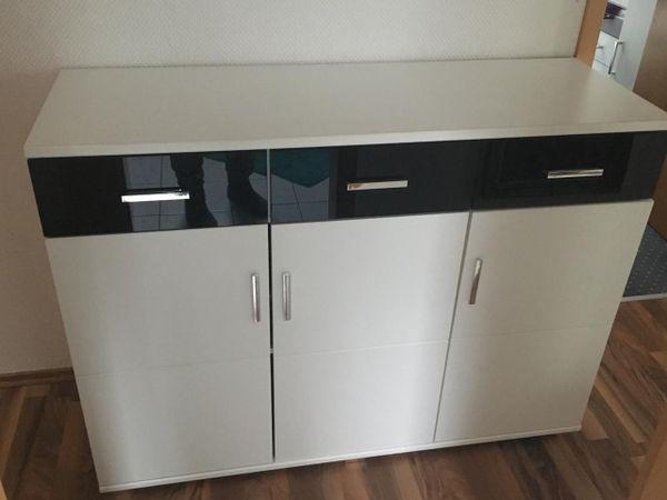 Sideboard weiß/schwarz » Wohnzimmerschränke, Anbauwände