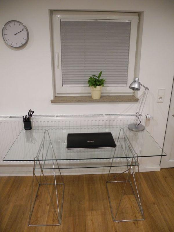 Stylischen Schreibtisch Aus Glas Und Stahl 130 X 65 In Plochingen
