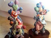 Altes Clownduo aus Keramik von
