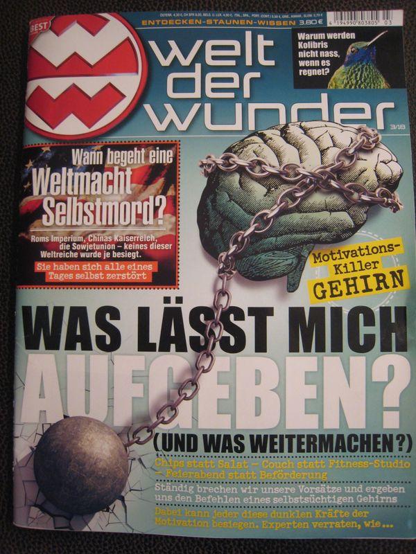 """NEU - Zeitschrift: """"Welt der Wunder"""" 3/2018, gebraucht gebraucht kaufen  41464 Neuss"""