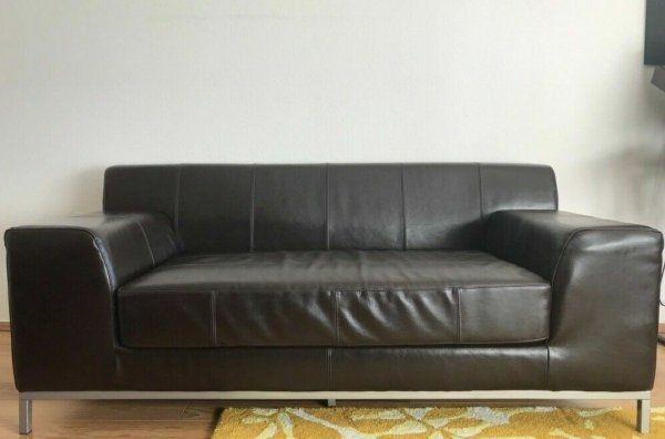 Ikea 2 Sitzer Leder Couch Sofa Passendem Hocker Modell Kramfors