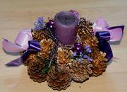 Adents-Gesteck - 1flammig - Weihnachts-Dekoration - Advents-Kerze