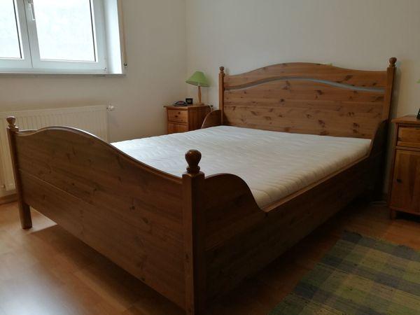 Kompl. Vollholz-Schlafzimmer (Bett, 2x Lattenrost, Matratze, Schrank ...