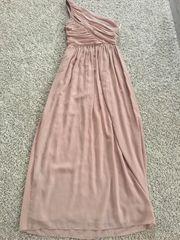 langes Abendkleid oneshoulder beige Größe