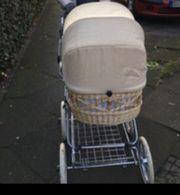 Retro Weidenkorb Kinderwagen