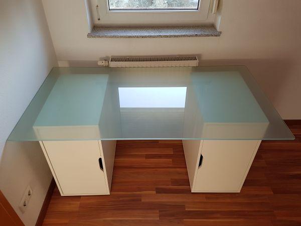 Büromöbel weiß ikea  Schreibtisch Alex mit Glasplatte (IKEA) - weiß in Plochingen ...