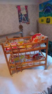 Holz Puppenbett 2-