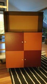 Kommode 80x127x35 cm rot orange