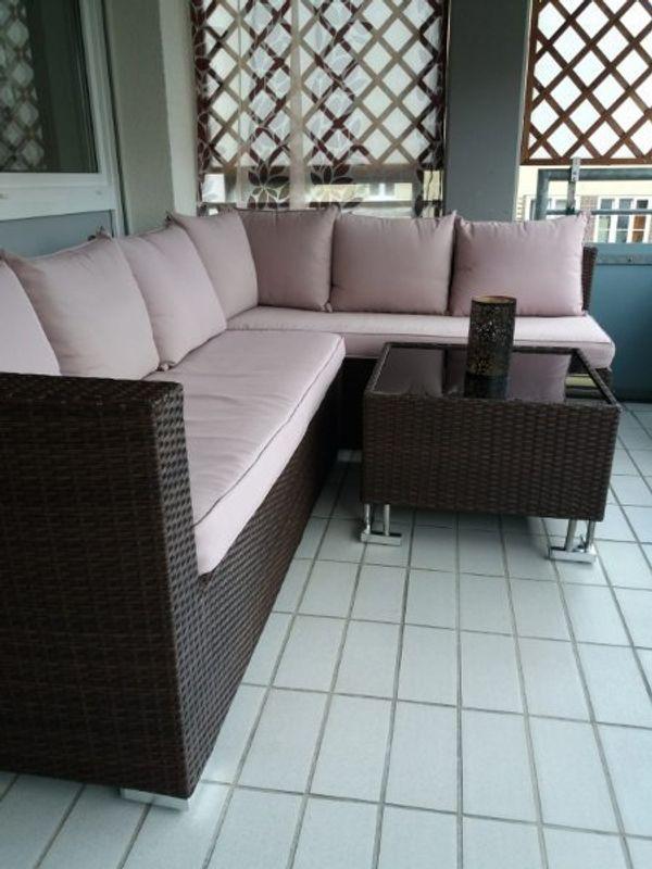 Wunderbar Lounge Set Rattan Braun 8 Sitzer