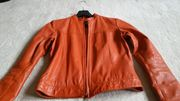 Lederjacke Damen Orange