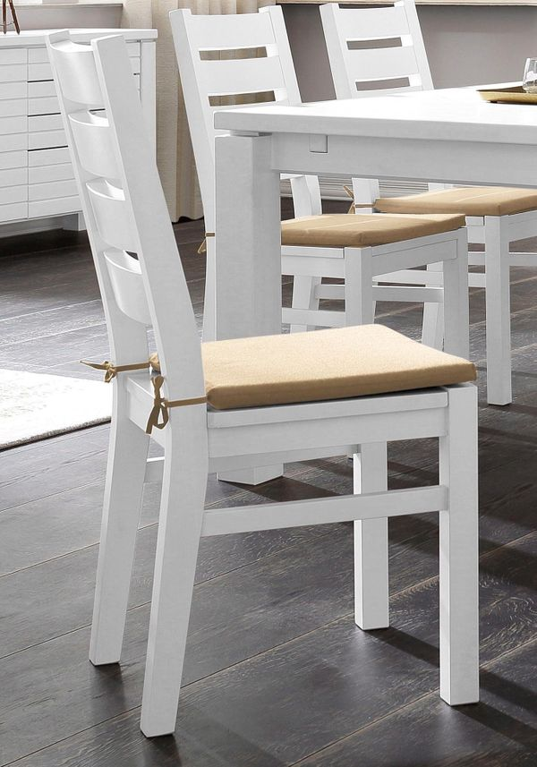 Neu 2er Esszimmer Stuhle Massiv Holz Landhaus Weiss Kuchenstuhle In