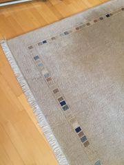 Teppich hellbeige reine Schurwolle 240x170