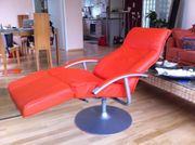 Relaxsessel leder stufenlos verstellbar orange