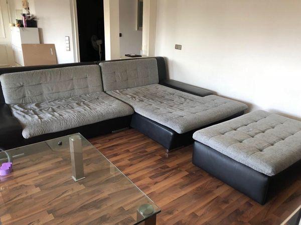 Big Sofa Grau Schwarz Leder
