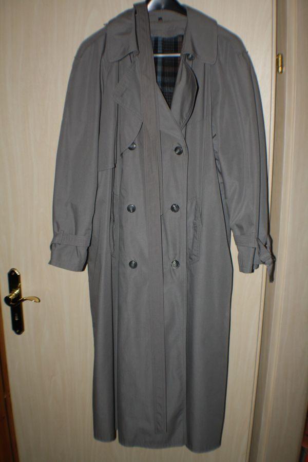 Damen Mantel Wintermantel Lang Trenchcoat Warm Gr 48 Grau Mit