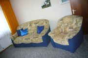 Sofa mit Sessel -Stoff - Blau